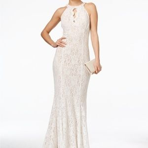 Nightway Lace Keyhole Halter Gown ivory/nude NWT